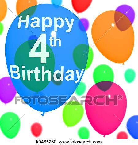 Multicolored Balloons For Celebrating A 4th Or Fourth Birthday Stock Illustration