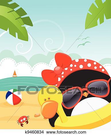 Summer Penguin Clipart | k9460834 | Fotosearch
