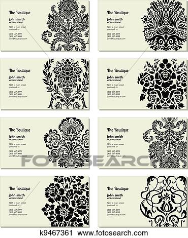 Clipart Of Vector Victorian Business Card Set K9467361 Search Clip