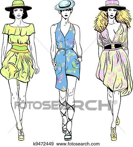 huge discount e9d89 8e276 Vettore, set, moda, cima, modelli, in, vestiti estate, e, cappelli Clip Art