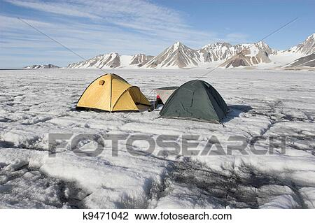 Winter glaciers expedition - tents on the glacier & Stock Photo of Winter expedition - tents k9471042 - Search Stock ...