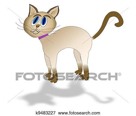 シャム 猫 で 影 イラスト K9483227 Fotosearch