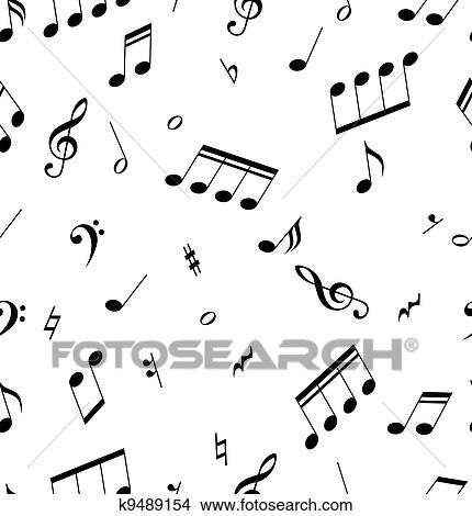 Clipart Of Seamless Abstract Pattern With Music Symbols K9489154