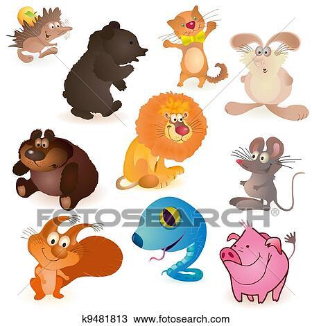 set, van, tien, gekke, dieren tekening   k9481813   fotosearch