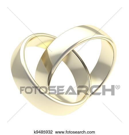 Clip Art Zwei Goldene Hochzeit Ringe Freigestellt K9485932