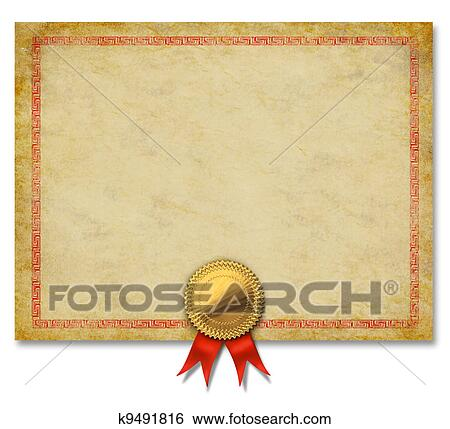 Stock Illustration Of Blank Certificate With Gold Crest Ribbon