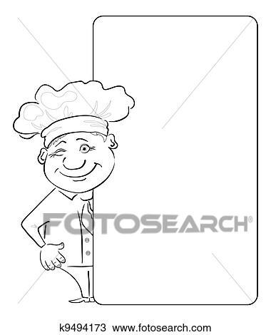 Dessin cuisinier regarde dehors les affiche contour - Cuisinier dessin ...