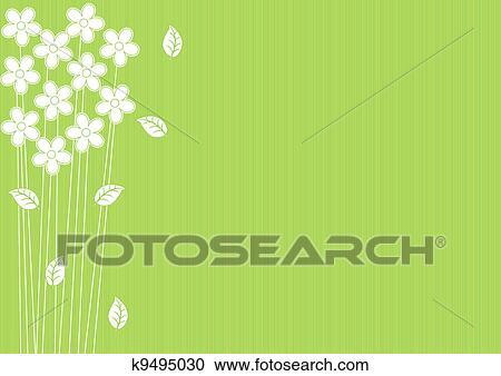 Estratto Sfondo Verde Con Fiori Clipart K9495030 Fotosearch