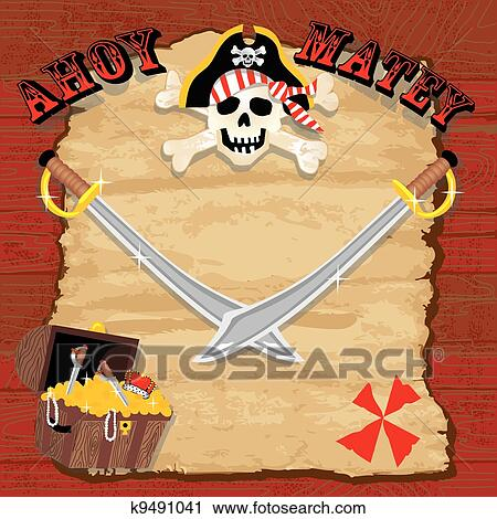 clipart of pirate party invitation k9491041 search clip art
