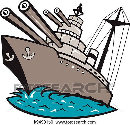 clipart of warship battleship boat with big guns k9493150 search rh fotosearch com battleship game clipart