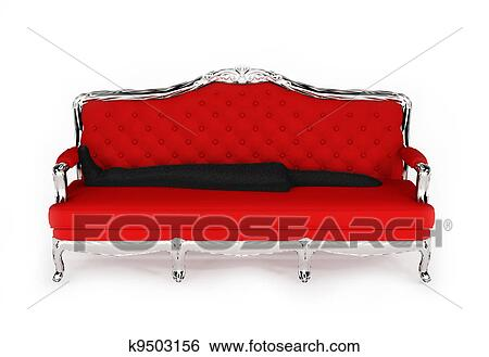 Stock Illustration Of Baroque Sofa With Black Cloth Isolated On