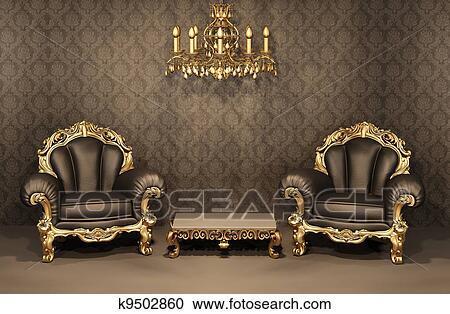 Coleccin de ilustraciones barroco sillones con oro marco en