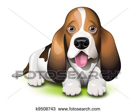 clipart of basset hound puppy k9508743 search clip art rh fotosearch com basset hound face clipart Basset Hound Christmas Clip Art