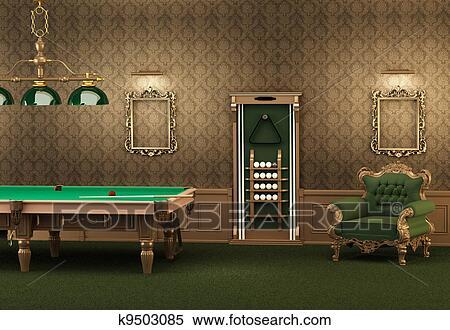 banque dillustrations billiards table de billard et meubles dans luxueux interior vide cadres sur mur et fauteuil dans salle moderne