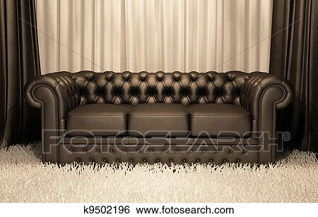 Brown Leather Chester Sofa In Luxury