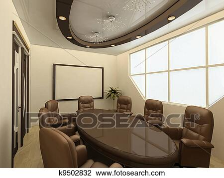 Clip Art Of Conference Table On Modern Office With Big Window - Big conference table
