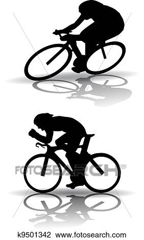 Clipart Of Cycling Silhouette K9501342