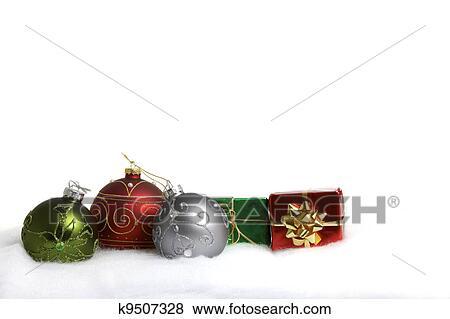 Bilder Drei Weihnachtsbaubles Und Zwei Klein Geschenk Paket