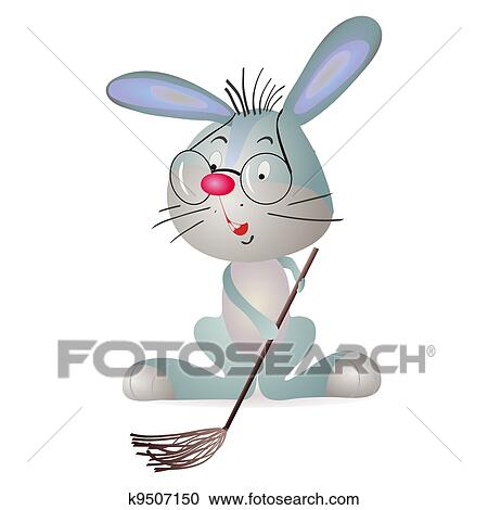 Funny Rabbit Sweeping The Floor Wit Clipart