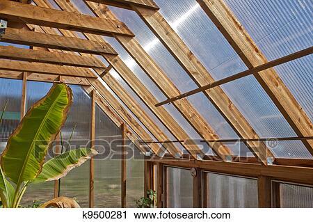 Holz Gewachshaus Innere Stock Fotografie K9500281