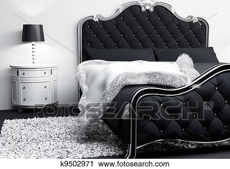 Clipart lussuoso mobilia in camera letto interior moderno
