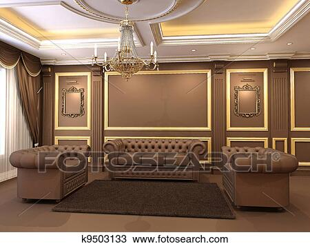 Modern Luxe Interieur : Stock photo of luxe golden decorative and modern chesterfield