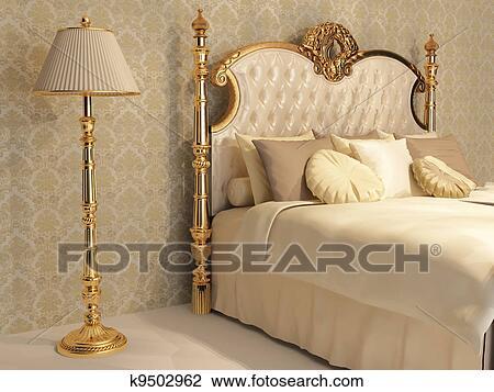 Luxueux, lit, à, coussin, et, stand, lampe, dans, royal, chambre à coucher,  intérieur Dessin