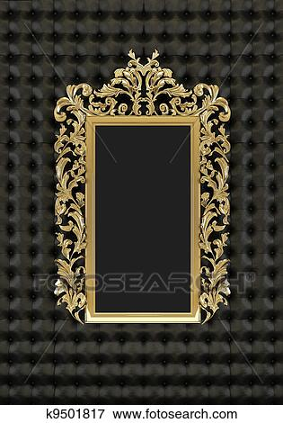 Stock Illustration Of Luxury Gold Frame On The Black Background