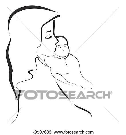Clipart Madonna Bambino K9507633 Cerca Clipart Illustrazioni