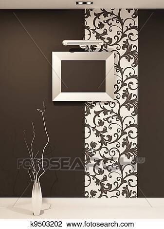 Clip Art - marco vacío, para, foto, en, decorativo, pared, con ...
