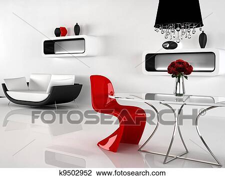 Clip art minimalismus und barock möbel in interior. modernes