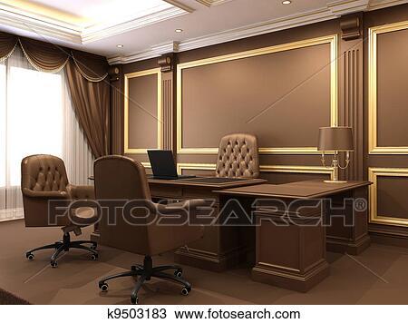 Dessin moderne interior. bureau space. bois meubles dans