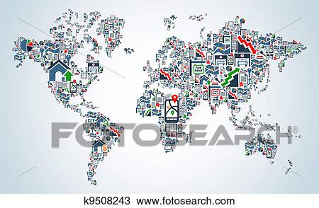 Clipart of property service icons world map k9508243 search clip clipart property service icons world map fotosearch search clip art illustration murals gumiabroncs Choice Image