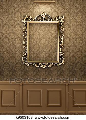Dibujo - real, dorado, marco, en, la pared, en, interior., galería ...