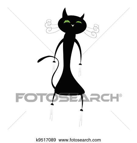 面白い かわいい 黒人のキャット イラスト クリップアート K9517089