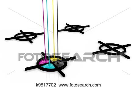Clip Art Of Cmyk Liquid Inks And Registration Mark K9517702 Search