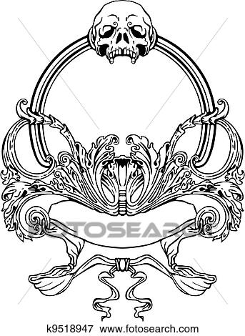 Clip Art of Frame with skull in Art Nouveau style k9518947 - Search ...