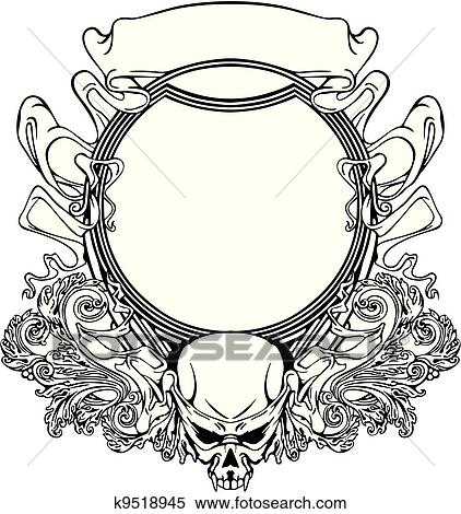 Clipart Of Frame With Skull In Art Nouveau Style K9518945 Search