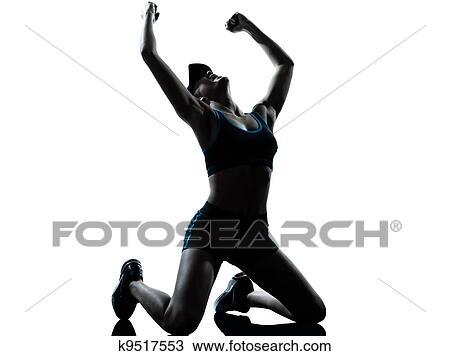Banque de Photo - femme, coureur, joggeur, agenouillement, gagnant, victoire. Fotosearch - Recherchez des Images, des Photographies et des Photos Clip Art