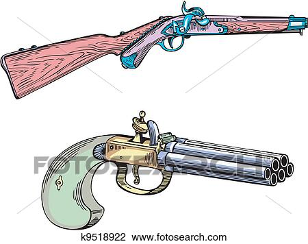 Old gun and rifle Clipart | k9518922 | Fotosearch
