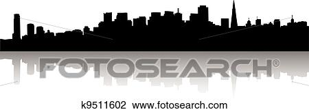 clipart of san francisco skyline silhouette k9511602 search clip