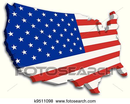 Clip Art of USA 3D State Flag map k9511098 - Search Clipart ...