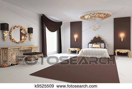 Stock Illustraties - barok, slaapkamer, met, gouden, meubel, in ...