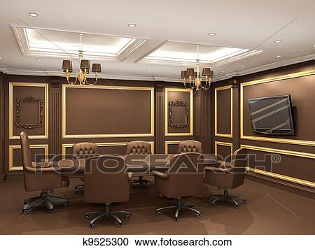 Stock Photography Of Conference Table In Royal Office Interior Space - Old conference table