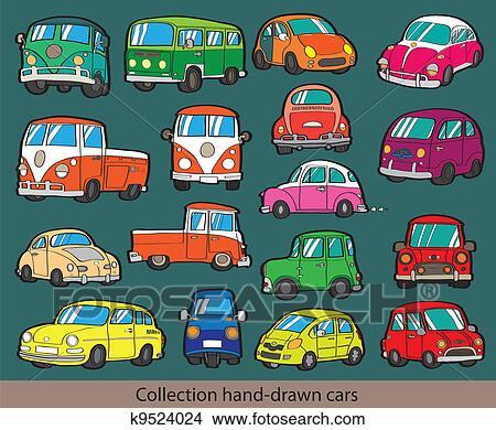 Dessin animé, voiture, icône, ensemble Clipart