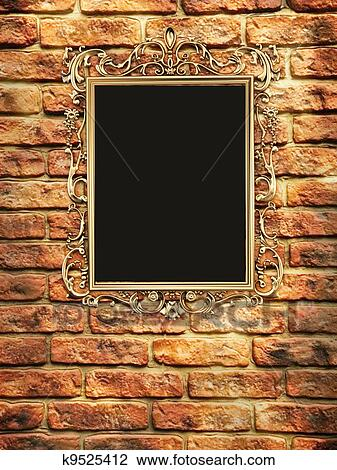 Clip Art Of Gallery Empty Golden Frame On Brick Wall K9525412