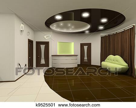 Clipart of reception interior design hall with furniture for Drawing hall interior decoration