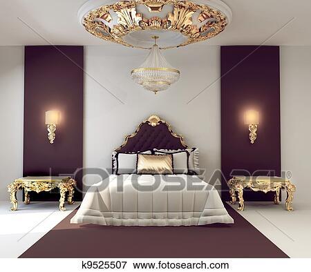 Luxe, double, chambre à coucher, à, doré, meubles, dans, royal, intérieur  Banque d\'Illustrations