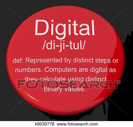Stock Illustration Of Digital Definition Button Showing Binary