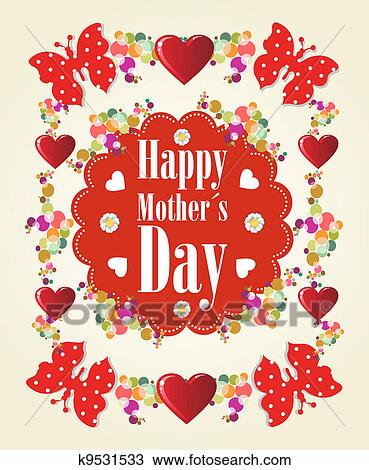 Clipart Of Happy Mothers Day Background K9531533